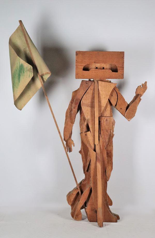 "Mario Ceroli - ""Warrior with banner"" wooden sculpture"