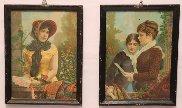 """Pair of small oleographs """"Portraits of girls"""""""