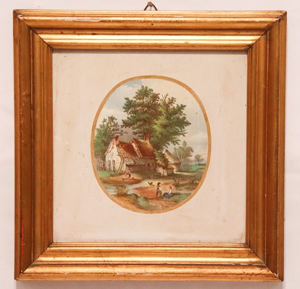 """Porcelain tile with medallion painted """"Peasant landscape"""" in the center"""