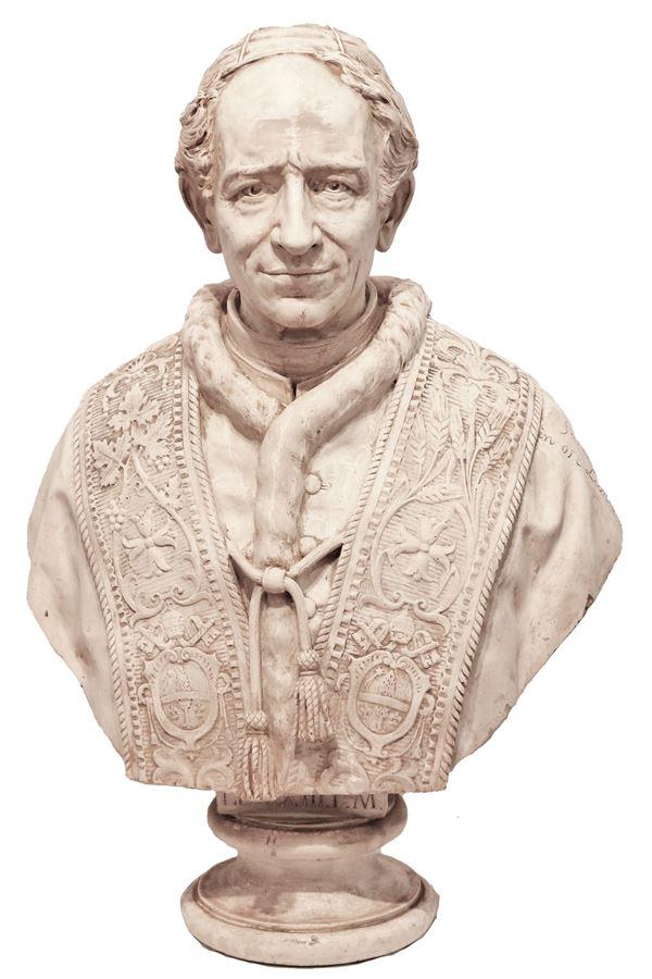 "Roncaglia Antonio (Scultore attivo Metà XIX Secolo) - Bust of ""Pope Leo XIII"". Signed and dated 1880, in patinated plaster"