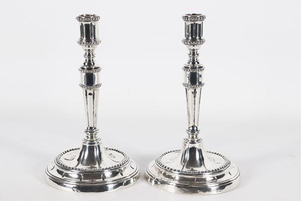 Pair of Roman silver candlesticks Argentiere Stefano Sciolet 1807 - 1870. Gr.545