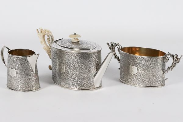 Tea set in silver and ivory Victorian period Silversmith I. S. G. (3 pcs) 465 gr