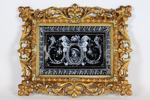 "Limoges enamel plaque ""Nobleman with helmet, cherubs and dragon heads"""