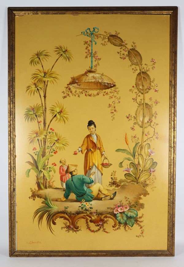 """Eulalio Mata Garcia - """"Chinese Allegory"""". Signed, painted in oil"""
