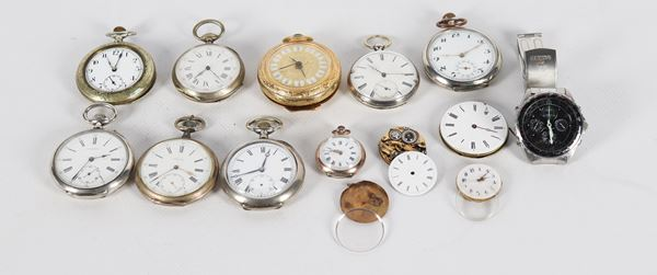 Lot of pocket watches from various eras and materials
