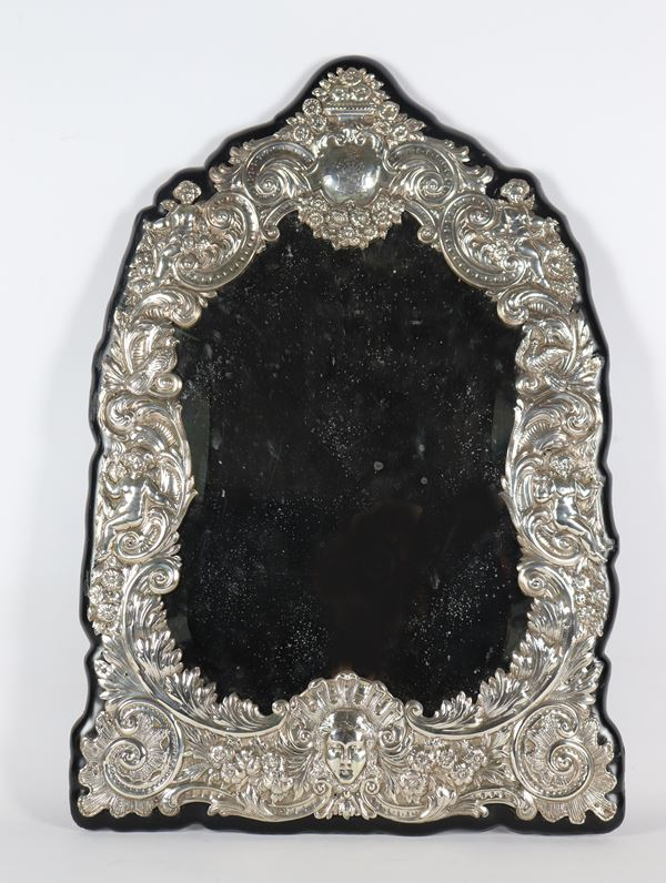 Large English table mirror in silver from the Queen Victoria era