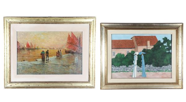 """""""Old speeches"""" and """"Marina with sunset and fishermen"""". Signed and dated, lot of two oil paintings on canvas"""