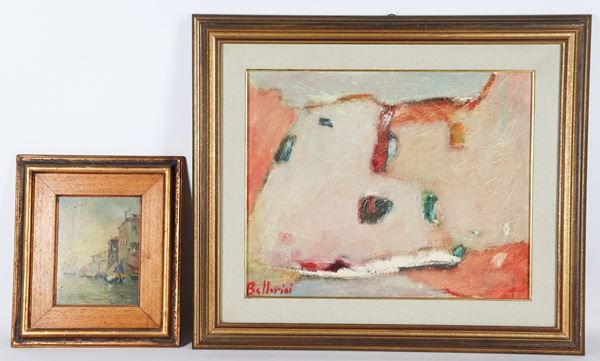 """Ferdinando Bellorini,E. Santi - """"View of Venice with boats"""" and """"Houses"""". Signed, lot of two oil paintings"""