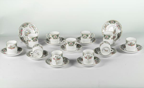 """Eleven """"Bone - China"""" English porcelain coffee cups and saucers"""