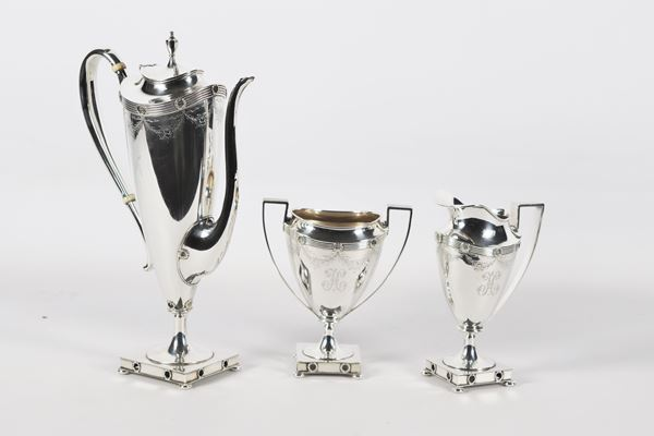 Tea set in 925 Sterling silver Silversmith Theodore B. Starr - New York (3 pcs) 1060 gr