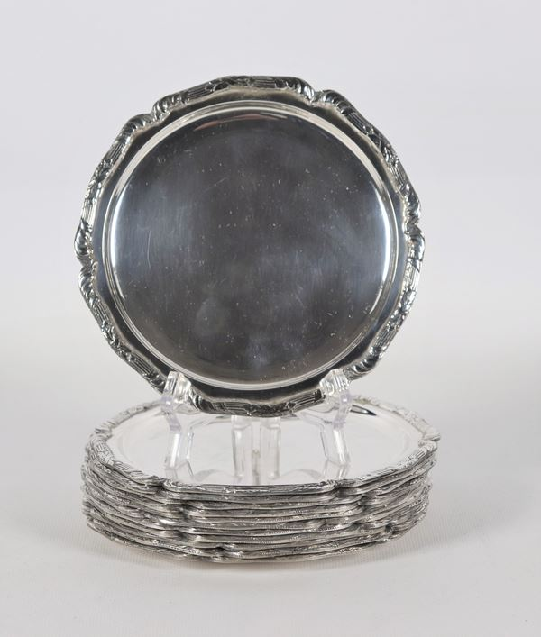 Lot of twelve silver bread saucers title 900 gr 1810