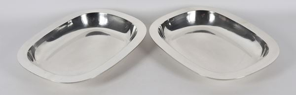 Pair of gum holders in smooth silver gr 1650