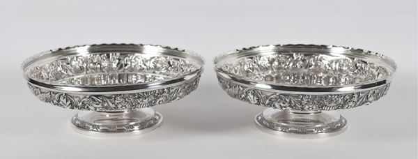 Pair of silver stands 900 title Argentiere A. Grandis. 1310 gr