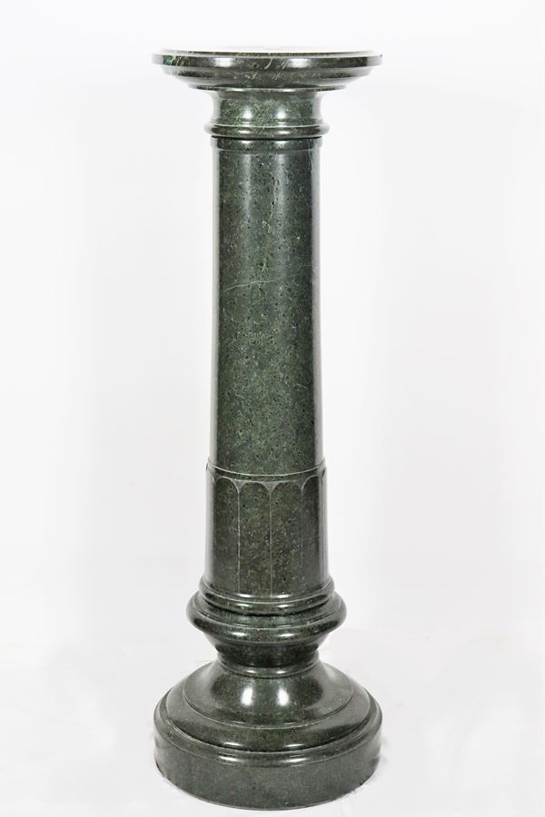 Neoclassical column in green Alpine marble