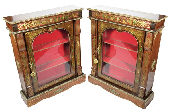 Pair of French showcases in walnut, bronze and red tortoise