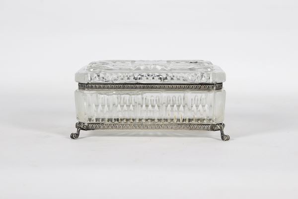 Rectangular box in Bohemian crystal and silver