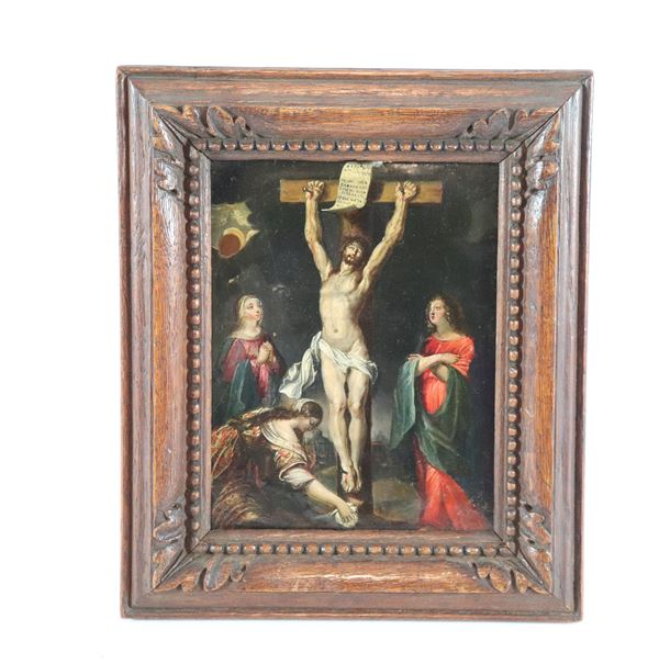 "Girolamo Pesci - Follower of. ""The Crucifixion"" small oil painting on copper"