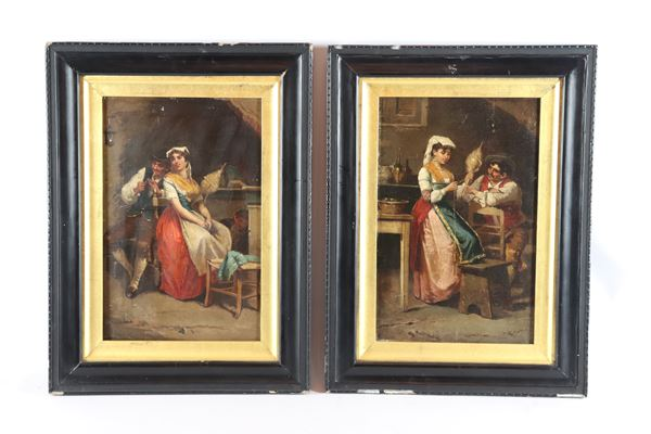 """Francesco Peluso - """"Courtship to the spinner"""". Signed, pair of small oil paintings on canvas"""