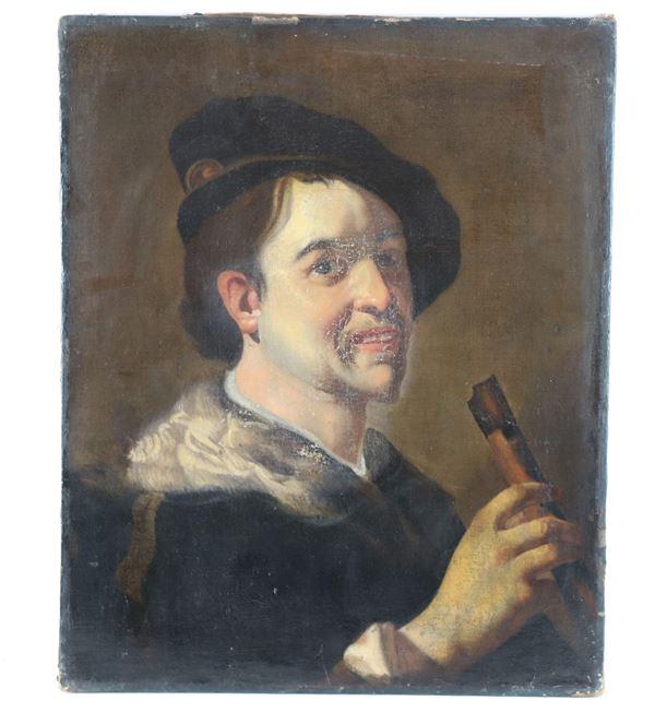 """Pittore Post - caravaggesco Fine del XVII Secolo - """"Suonatore di flauto"""" dipinto ad olio su tela"""