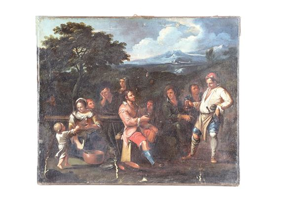 """Pittore Bambocciante Fine XVII Secolo - """"Landscape with the peasants' refreshment"""" oil painting on canvas"""