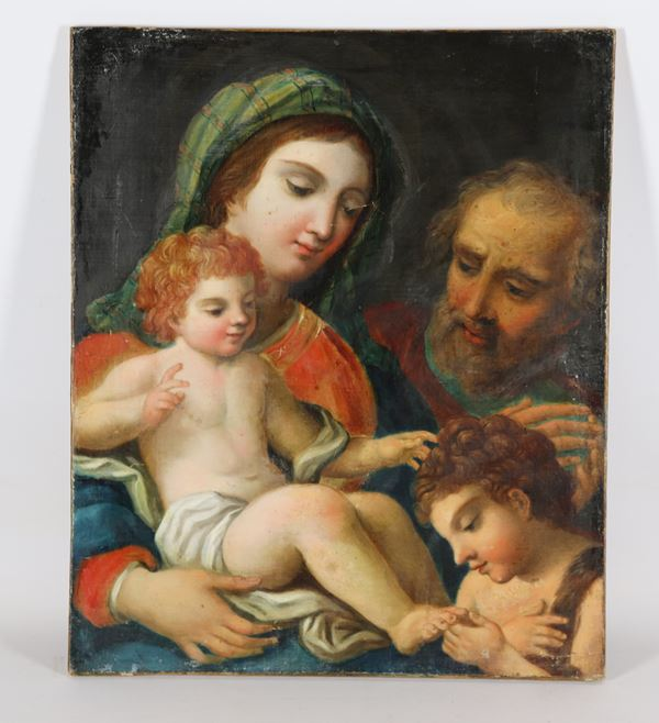 """Carlo  Maratta - Pupil of. """"Holy Family with San Giovannino"""" oil painting on canvas"""