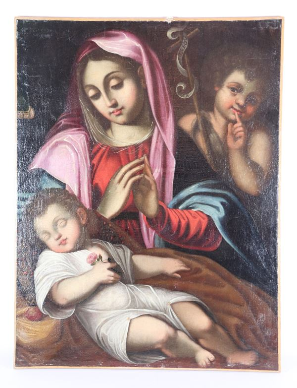 """Scuola Bolognese Fine del XVII Secolo - """"Madonna with Sleeping Child and San Giovannino"""" oil painting on canvas"""