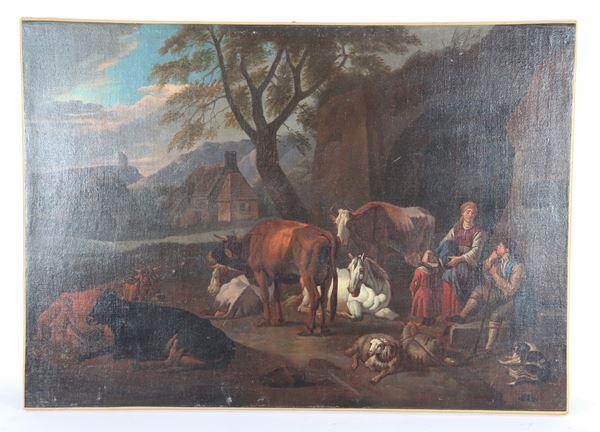 "Pieter Van Bloemen - Workshop of. ""Landscape with shepherds and herds"" oil painting on canvas"
