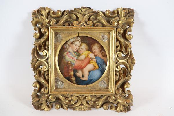 """Small round ivory plaque """"Madonna della seggiola"""""""