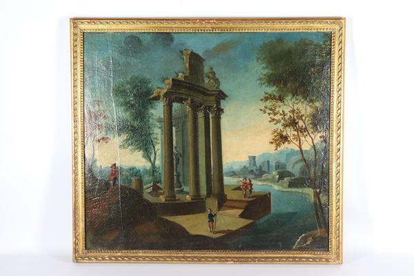 """Scuola Veneta Inizio XIX Secolo - """"Paesaggio con rudere di tempio e personaggi"""" dipinto ad olio su tela"""