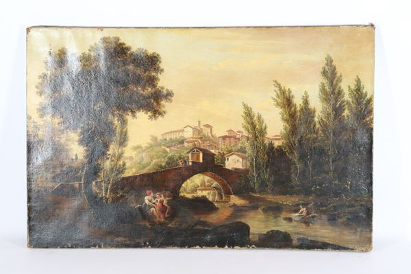 """Giuseppe Gherardi - """"Ponte di Pelago in Vallombrosa in Tuscany"""". Written and dated 1853 on the back of the canvas, oil painting on canvas"""