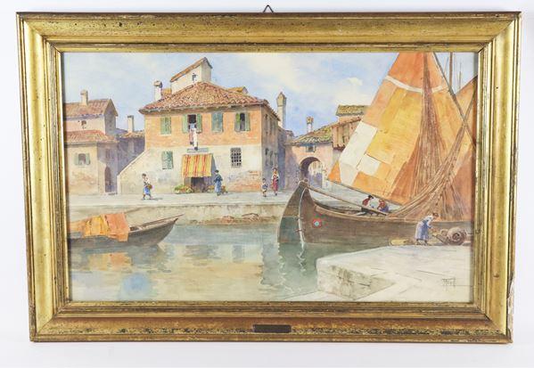 """Filippo Anivitti - """"Scorcio di Venezia con canale e barche"""". Firmato, acquarello su carta"""