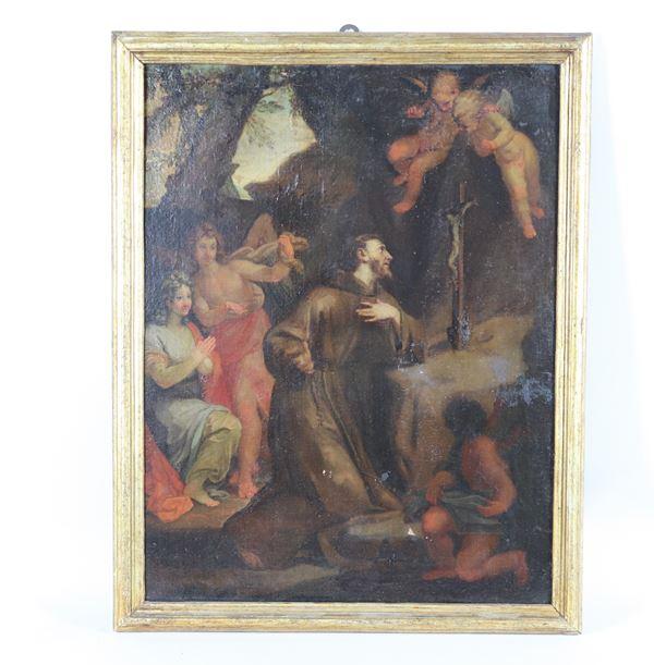"Scuola Italiana del XVIII Secolo - ""The Ecstasy of St. Francis"" oil painting on canvas"