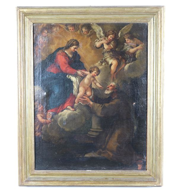 """Scuola Italia centrale Fine XVII Secolo - """"Madonna with Child Jesus and Saint Felix of Cantalice"""" oil painting on canvas"""