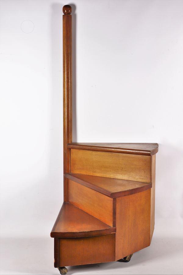 Antique library ladder in blond walnut