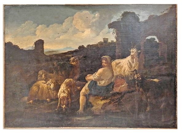 """Philip Peter Roos detto Rosa da Tivoli - """"Shepherdess with herd of sheep, goats and Roman ruins"""". Att.to, oil painting on canvas"""