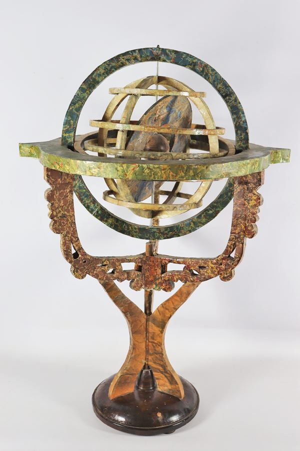 Armillary sphere supported by structure and base lacquered in faux marble