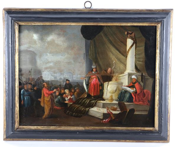 """Scuola Fiamminga XVII Secolo - """"Adoration of the Golden Calf"""" painted in oil on wood"""