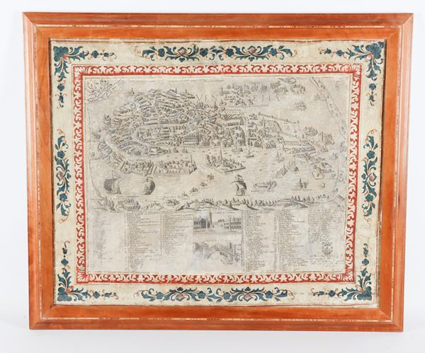 """Giacomo Franco - """"Perspective plan of the city of Venice"""" ancient engraving on paper"""
