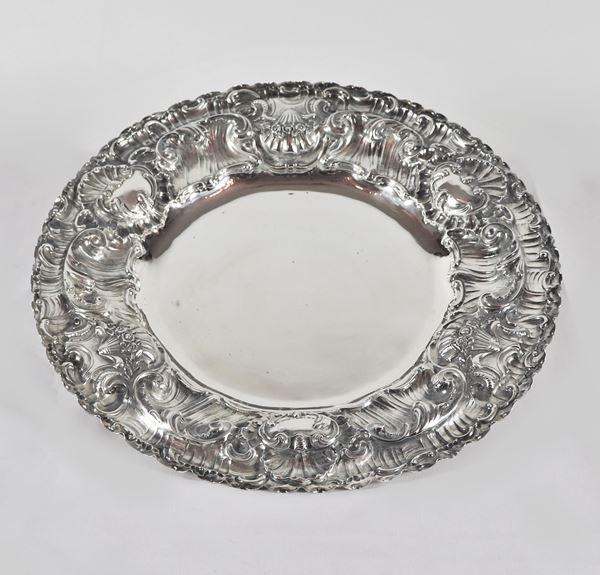 Grande piatto a forma tonda in argento gr. 600