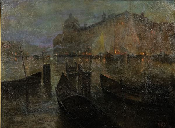 "Vincenzo Caprile - ""Veduta notturna di Venezia con la laguna"". Reca la firma di."