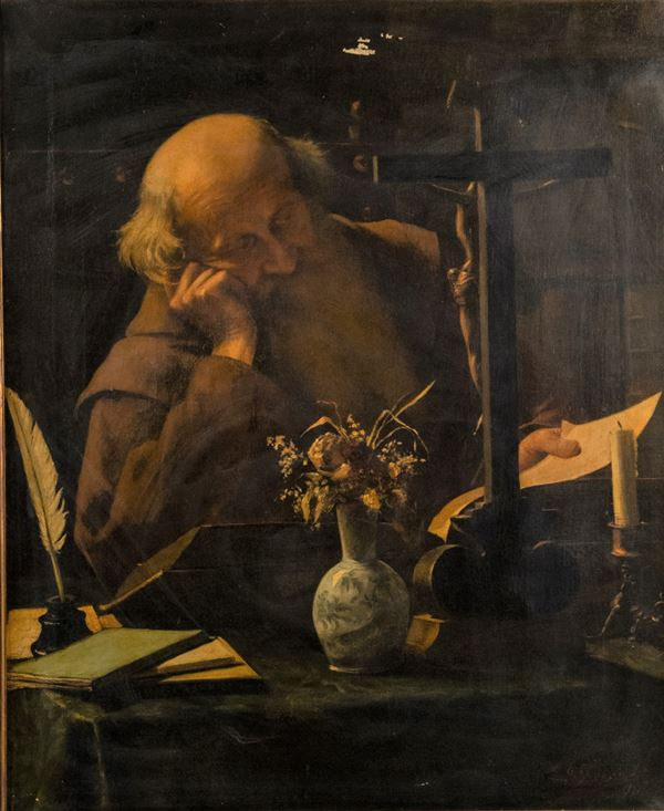 """Pittore Europeo XIX Secolo - """"Monk in Reading"""". Signed."""