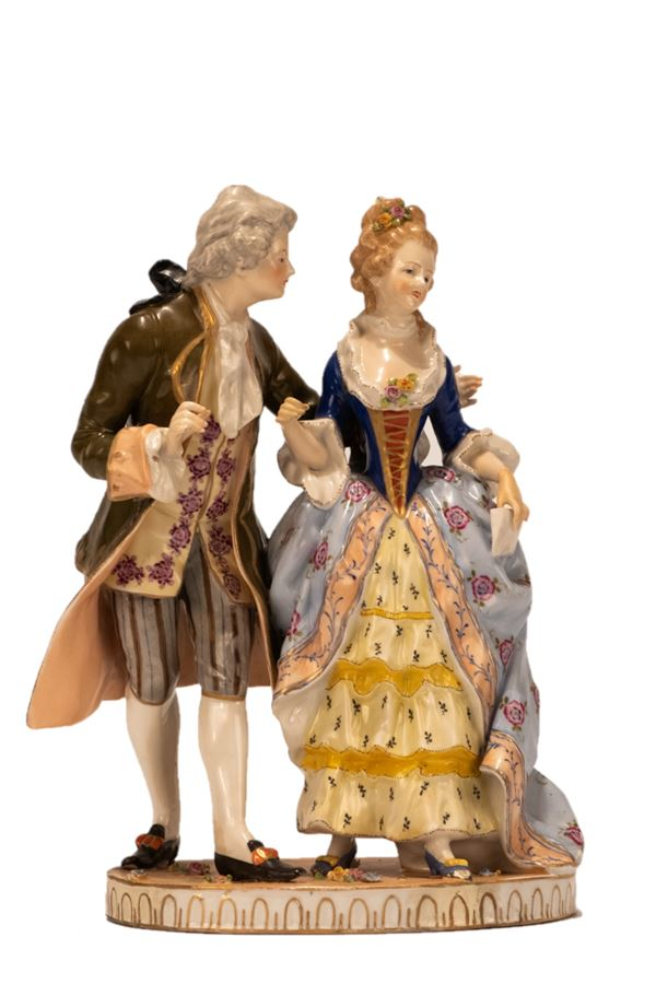 """Polychrome porcelain group """"Lady and Knight"""""""