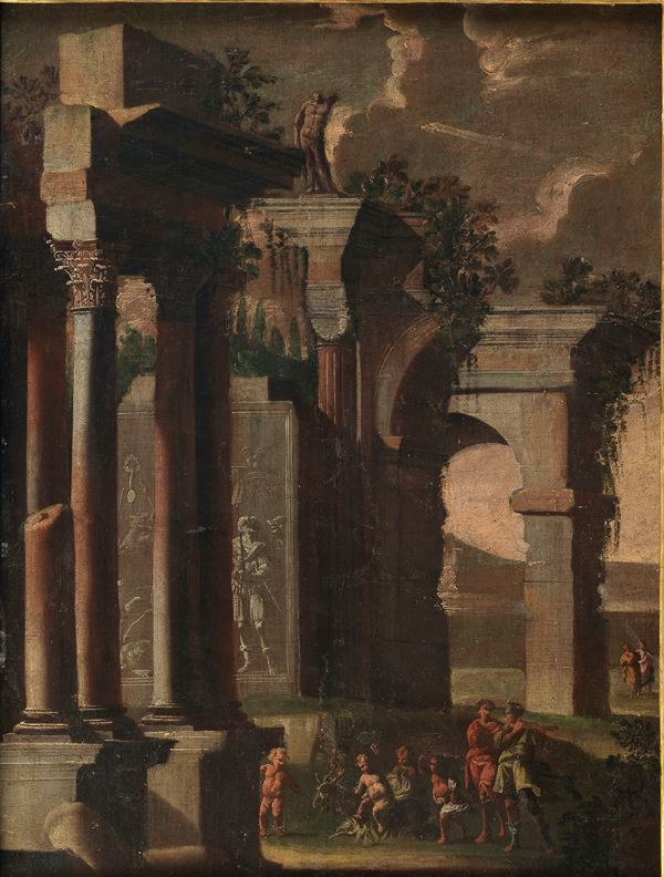 """""""Architectures with allegory of putti and wayfarers"""". Att.to."""