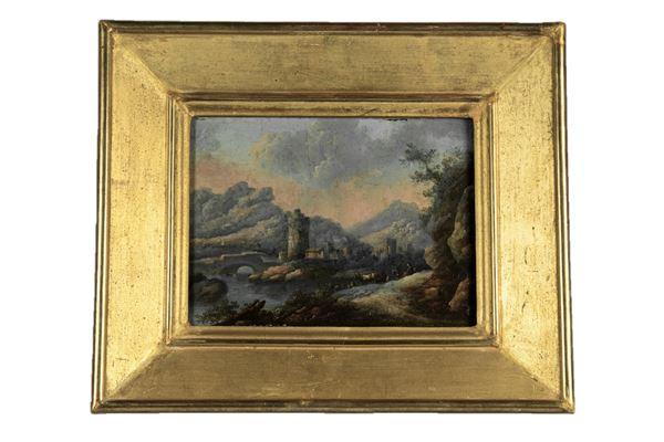"""Pittore Fiammingo Inizio XVIII Secolo - """"River landscape with castle and shepherds"""""""
