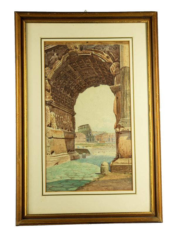 """Pittore Romano XIX Secolo - """"View of the Colosseum from the Arch of Titus"""". Signed and registered in Rome."""