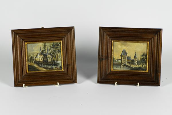 """Pair of Miniatures """"Landscapes and castles"""""""