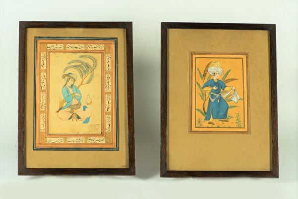 """Two watercolor drawings """"Oriental characters"""""""