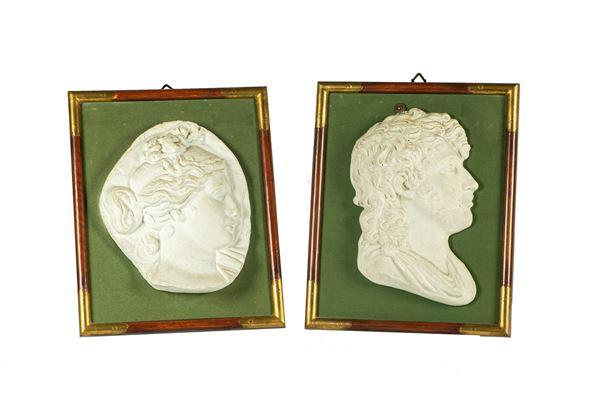 "Pair of Plaster Medallions ""Gioacchino Murat and Carolina Bonaparte"""