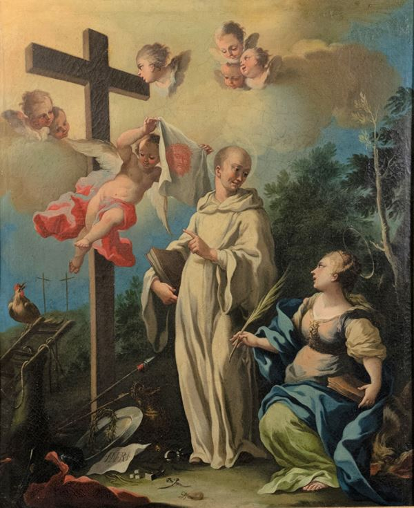 """""""San Bernardo and Santa Margherita with the symbols of the Passion"""". Signed and dated on the back of the canvas"""