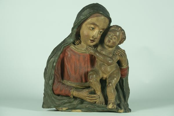"""Polychrome sculpture """"Madonna with Child"""""""